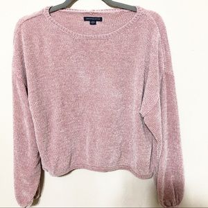American Eagle Outfitters Pink Chenille Sweater